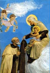 Our Lady bestows the Brown Scapular upon St. Simon Stock